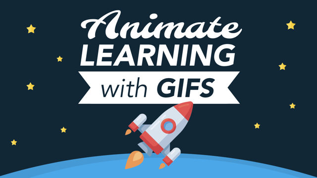"rocket ship in space with the words ""animate learning with gifs"""